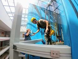 Mytí výtahové šachty- Výškové práce - Lanový přístup